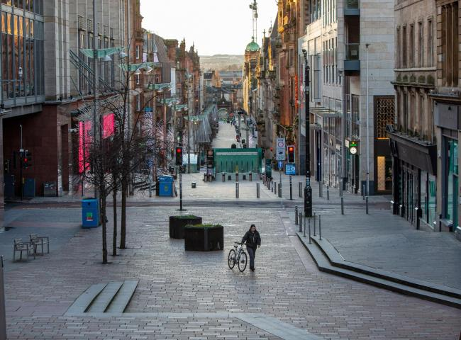 A deserted Buchanan street, Glasgow at 9.30am on New Year's day morning