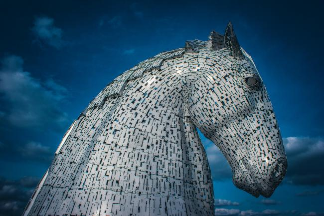 We launched the new project to bring undecided voters round to Yes. Pictured: The Kelpies