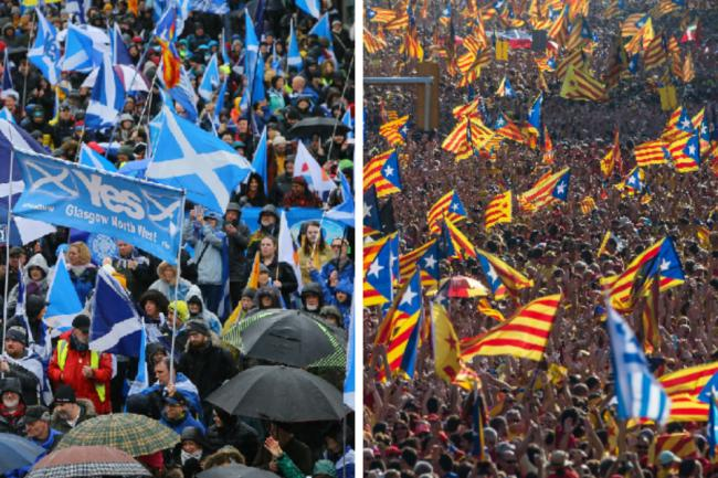 Scots march for independence through Glasgow, and Catalans do the same in Barcelona