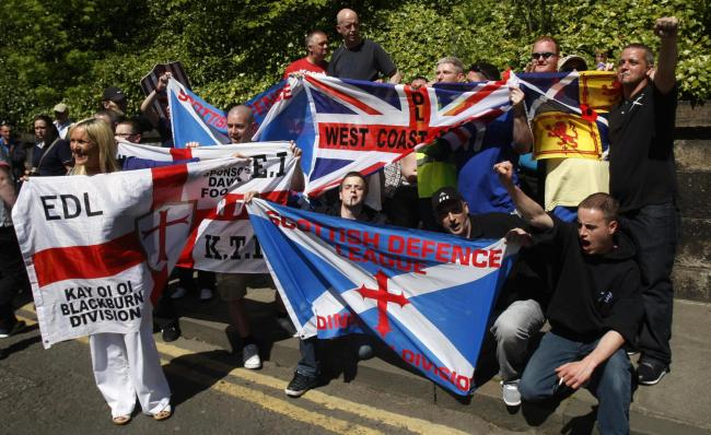 Members of the Scottish Defence League during a demonstration in Edinburgh