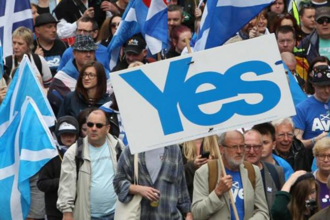 A demonstration in support of Scottish independence in 2019