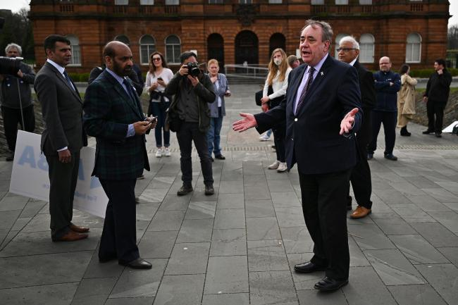 Former first minister and Alba Party leader Alex Salmond campaigning last month for the Holyrood election in Glasgow.