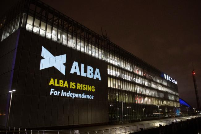 Alba projected their message onto the BBC Scotland building in Glasgow last night