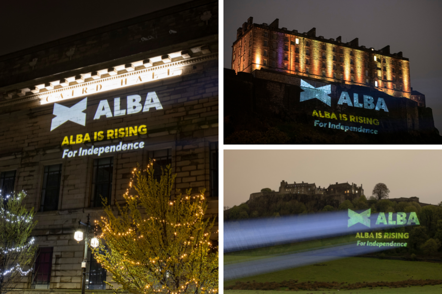 Alba project logo onto historic Scottish sites on final day of campaigning