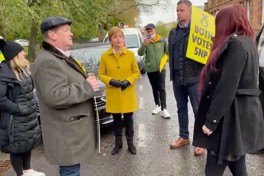 WATCH: Nicola Sturgeon deals with far-right extremists at polling station