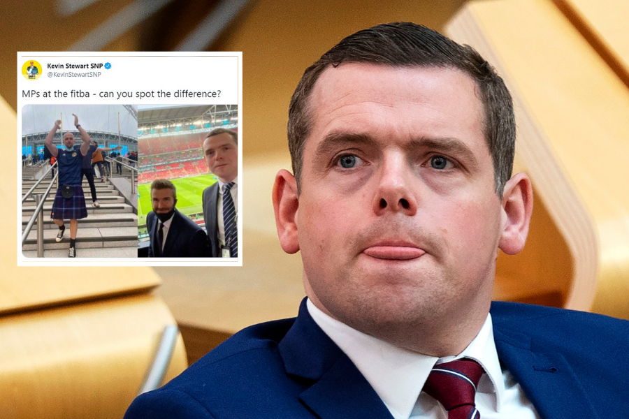 Douglas Ross fumes at SNP MSP for poking fun at his picture with David Beckham