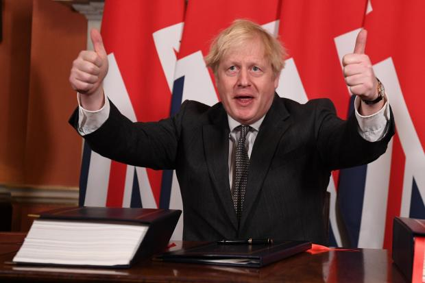 The National: Prime Minister Boris Johnson pictured after signing the Brexit deal last December Picture: Leon Neal/ Getty Images