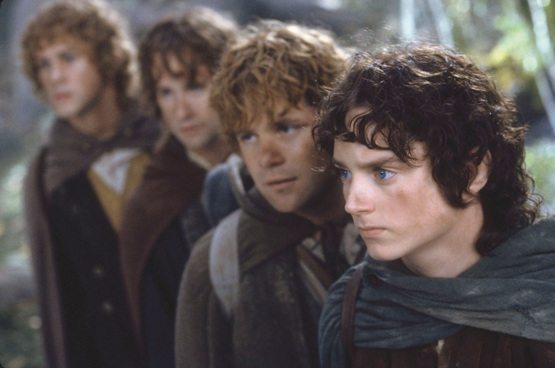 A scene from the film The Lord of the Rings featuring hobbits Frodo, Sam, Merry and Pippin