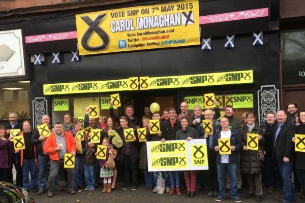 Supporters outside Carol Monaghan's office in Glasgow's Dumbarton Road
