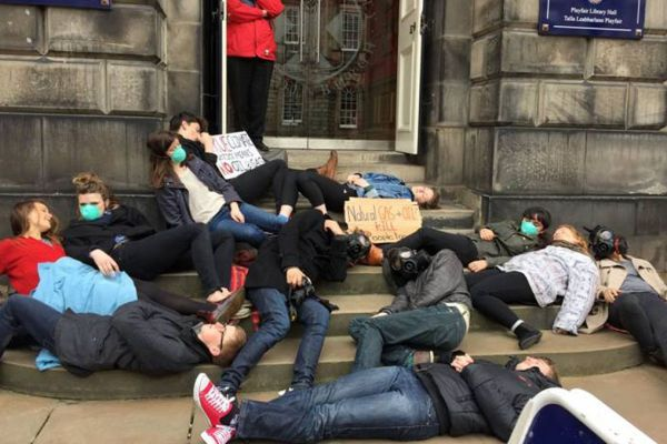 Students stage a lie-down protest at Old College