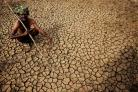 An Indian farmer sits in his dried up land in Gauribidanur village,