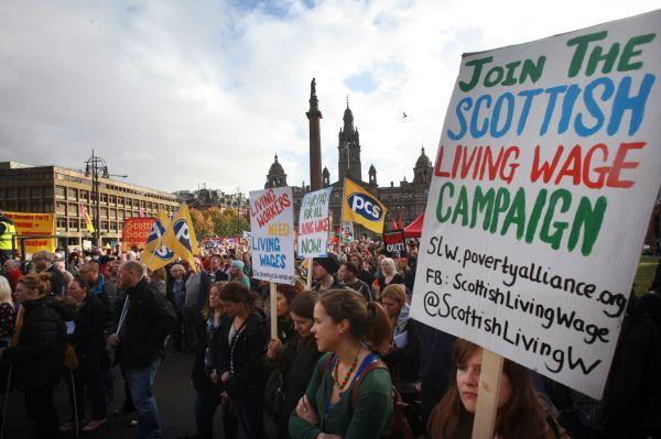 An estimated 100,000 people took part in a similar anti-austerity protest last October