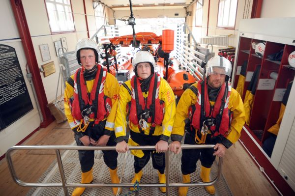 Keith Hood, David Gibson and Paul Crowe in the lifeboat station