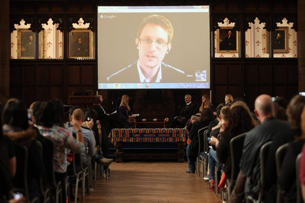 Edward Snowden, the current Rector of Glasgow University, gives a remote speech to staff and students