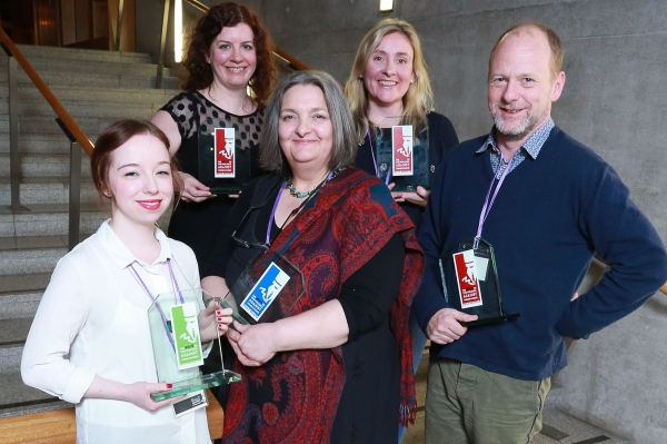 Award winners Eve Livingston, left, Judith Duffy, Isabelle Kerr, Gina Davidson and Alex Renton
