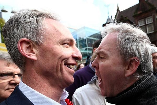 Sean Clerkin and Jim Murphy have a discussion in Glasgow
