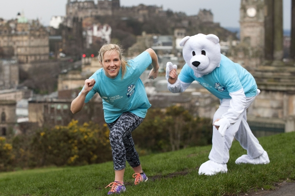 Heather Duff gets into shape with a polar bear pal in time for the charity run