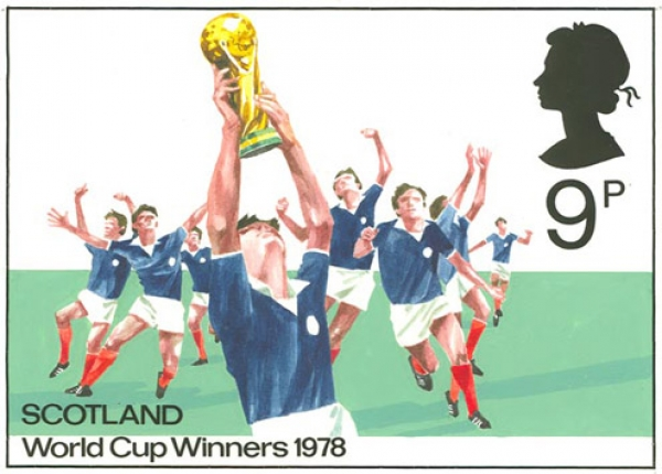 A 9p stamp that would have been issued if Scotland had won the 1978 World Cup is one of the prime exhibits