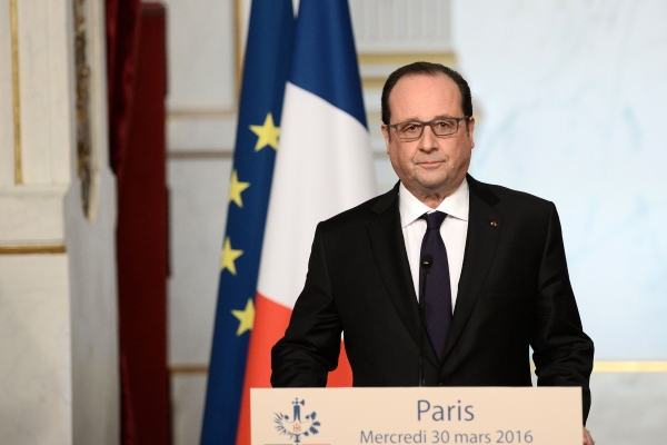 Hollande makes his announcement during a speech at the Elysee Palace