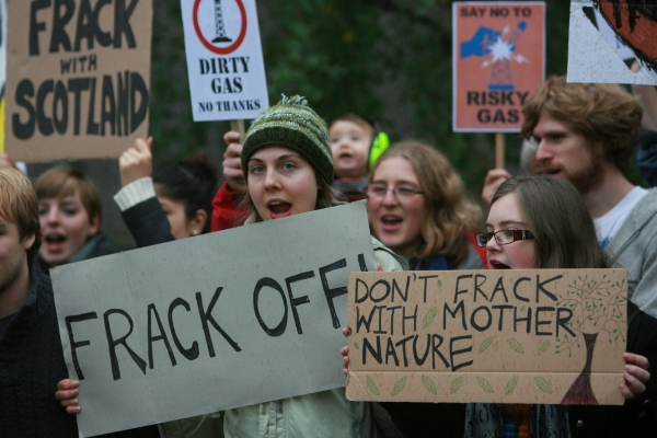 Protesters against fracking. The Greens have pledged 'tougher action' on the issue