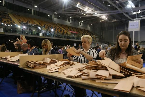 Votes are counted on a night when the SNP took control of the Scottish Parliament for a third term, albeit not as spectacularly as in 2011