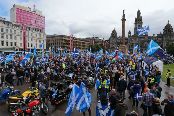 The pro-independence Yesbikers throng Glasgow's George Square
