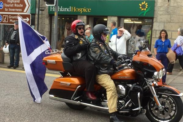 Saltires in evidence at the Thunder in the Glens rally in Aviemore