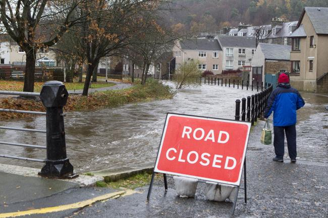 Flood alerts were put in place in areas like Peebles, where Eddleston Water burst its banks
