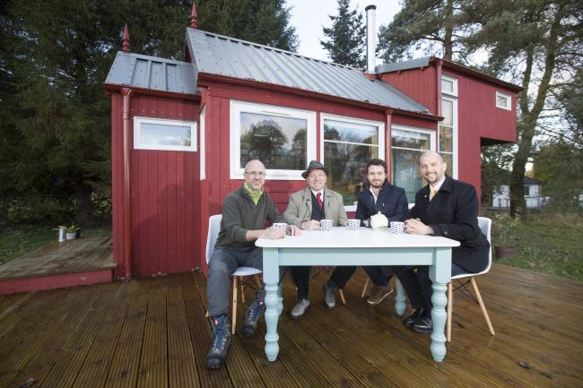 Some of the team behind the Social Bite Village, from left to right: Jonathan Avery  from Tiny House Scotland, Gordon Munro  of EDI Group, Social Bite co-founder Josh Littlejohn and Edinburgh Northern and Leith MSP Ben Macpherson