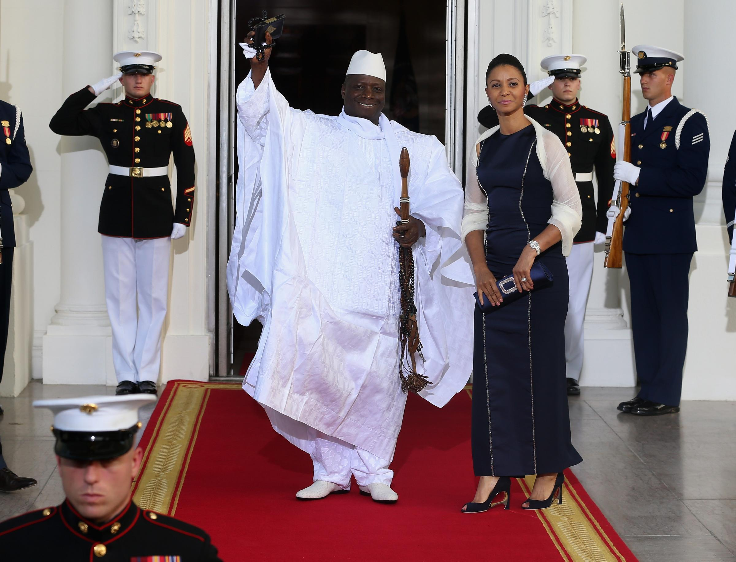 Yahya Jammeh, above with his wife, Zineb, is bidding for a fifth term as president, after seizing power in a military coup