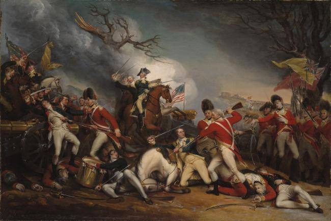 The Death of General Mercer at the Battle of Princeton, as depicted by American artist John Trumbull. Mercer was an assistant surgeon in Bonnie Prince Charlie's forces before emigrating to the US