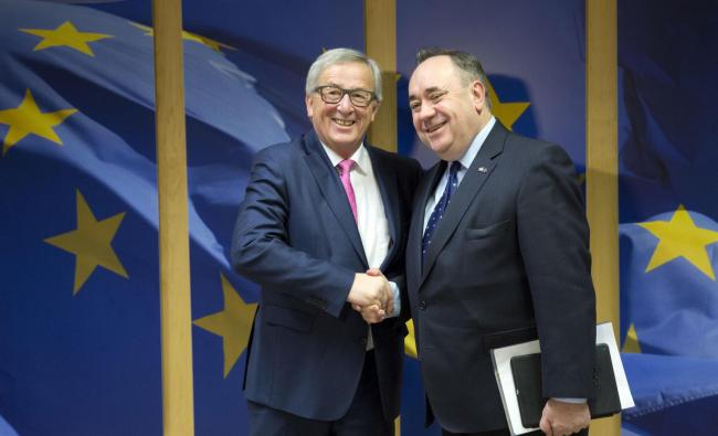 Former First Minister Alex Salmond, right, meets President of the European Commission Jean-Claude Juncker