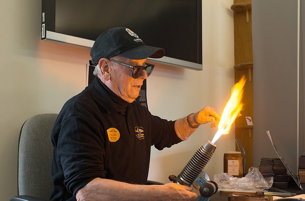 Tom Young, 79, is recognised for services to glassblowing