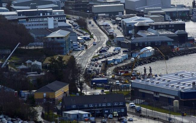 Traffic was halted outside the Faslane base