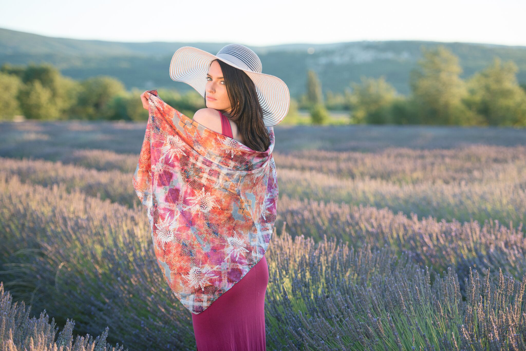 A pink thistle scarf from Mairi Wilks's Mairi Helena label