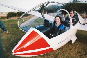 Paula on her final adventure for The National, with Highland Gliding Club