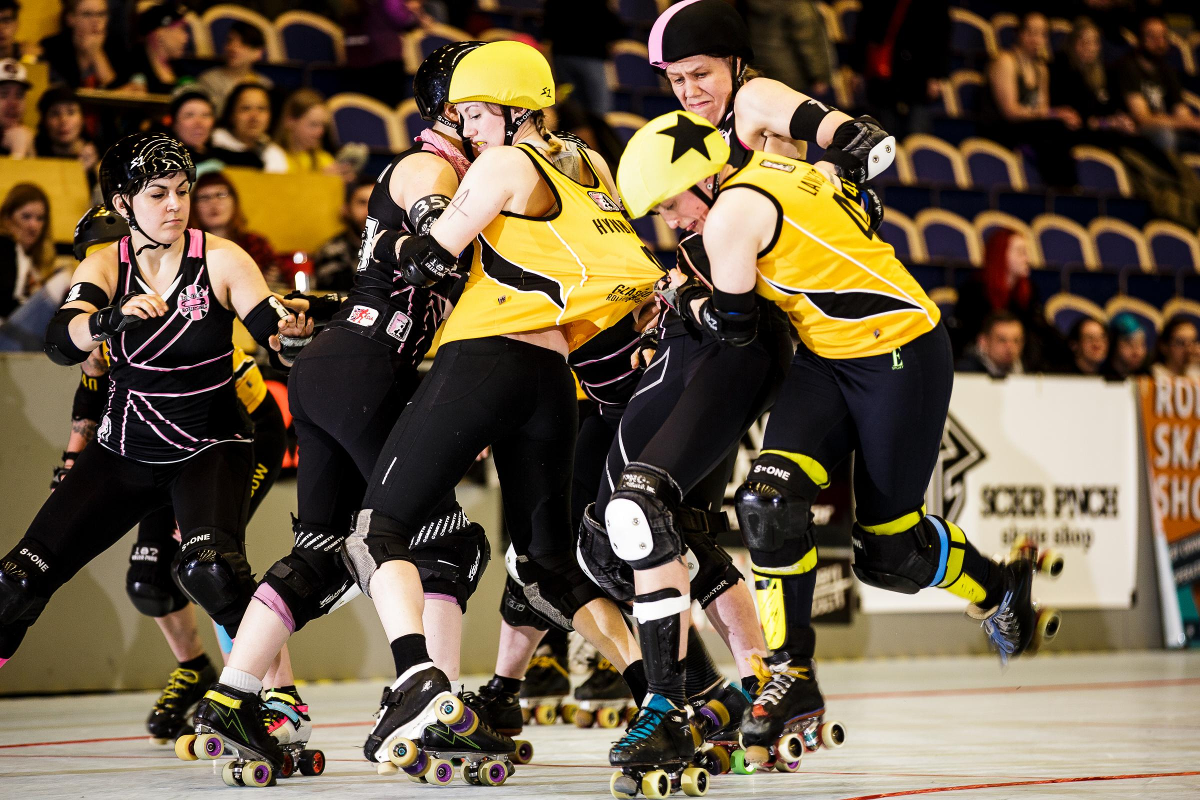 The Irn Bruisers go up against the London Rollers in Malmo las spring. Photograph: Peter Troest