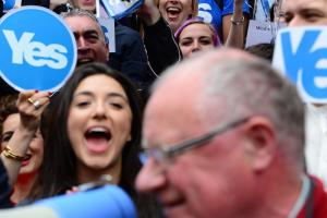 Yes supporters in Glasgow's Buchanan Street in 2014. The next vote wont be any less politicised Photograph: Mark Runnacles/Getty