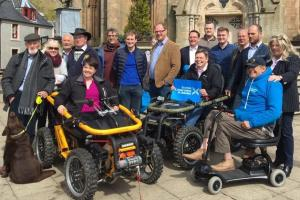 Ruth Davidson on a mobility scooter in a controversial photo op