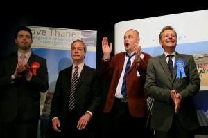 Craig Mackinlay, right, with fellow candidates, including Nigel Farage, second left, in 2015
