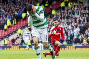 Tom Rogic reacts after missing his penalty during the shoot out with Rangers in last season's Scottish Cup semi-final