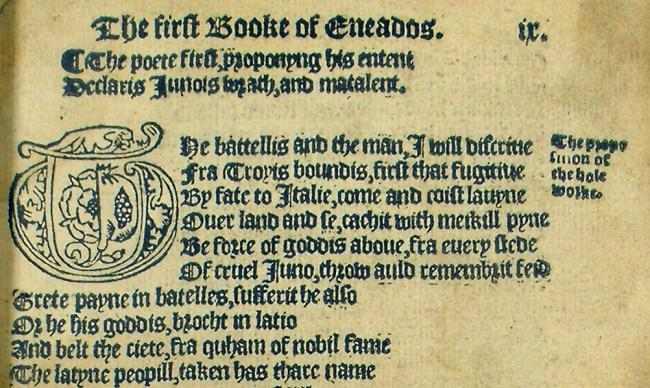Detail from Gavin Douglas's Eneados – an early Scots translation of Virgil's Aeneid