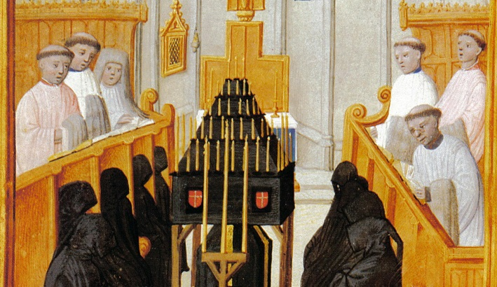Left: A detail from the funeral of James III, which James IV had in his Book of Hours of 1503 Image credit: Austrian National Library, Vienna