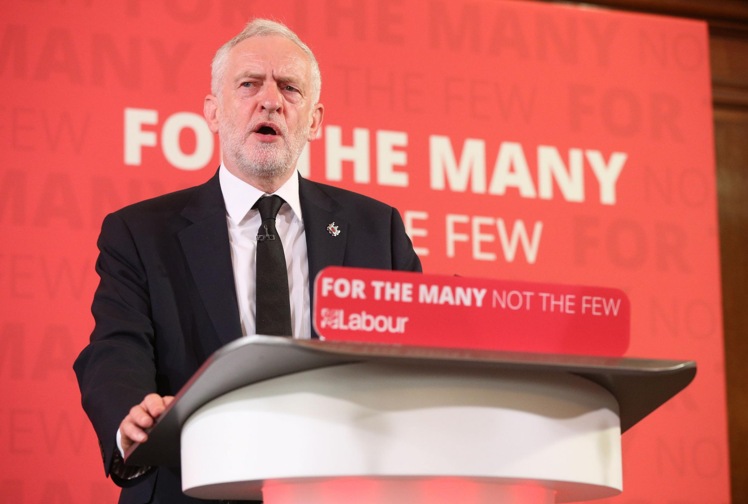 Labour leader Jeremy Corbyn addresses activists for the first time since campaigning resumed following the Manchester bombing
