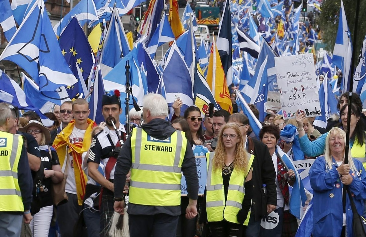 Today's march will be overseen by volunteer stewards. Photograph: PA