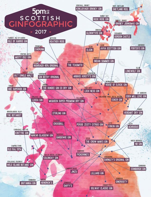 An Incredible 25 New Scottish Gins Have Launched In The Last Year Alone Taking Total Number On Map To 53 Colourful Print Includes Name Of