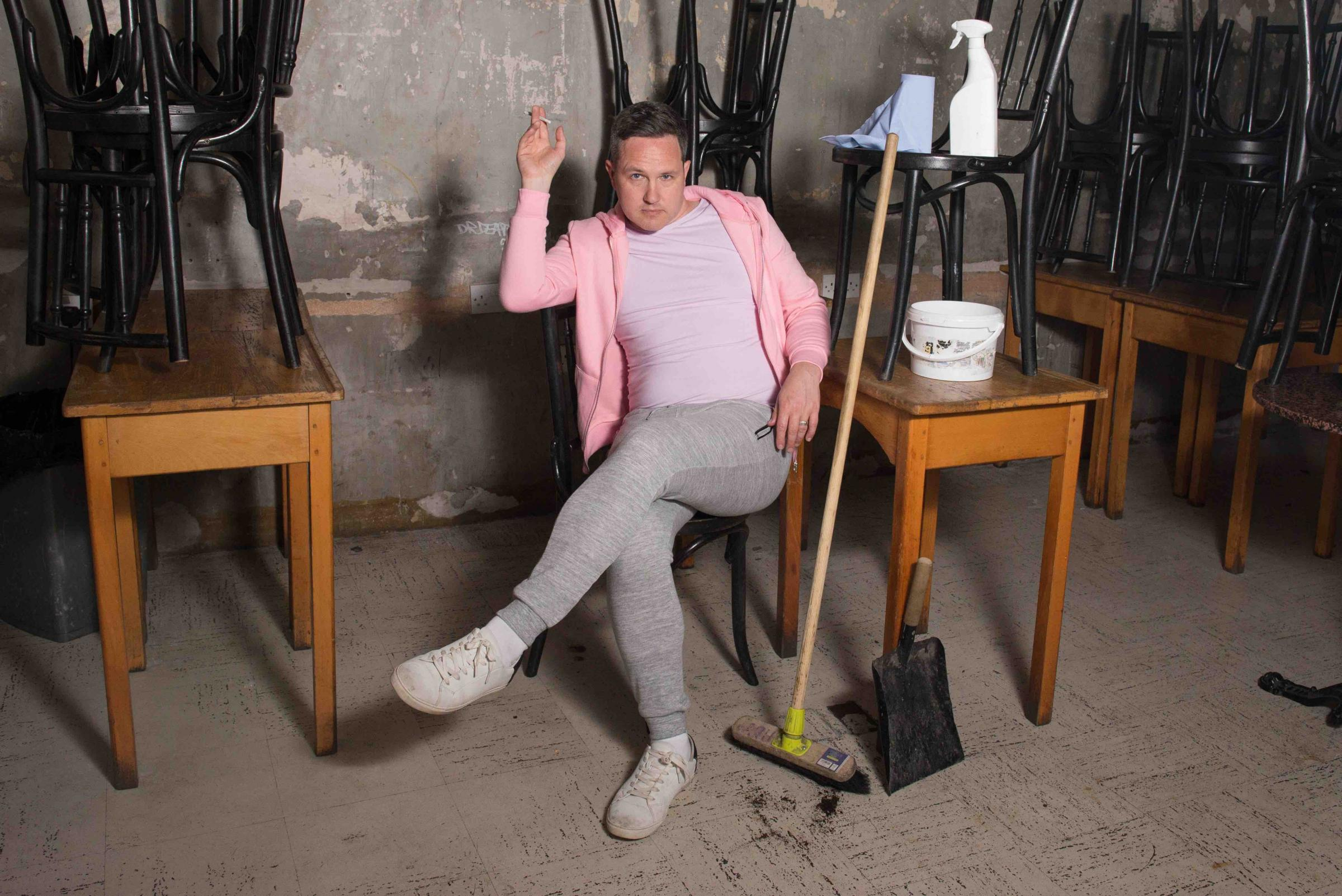 Alan Bissett as cleaner and chain-smoker Moira. Photograph: Stephanie Gibson