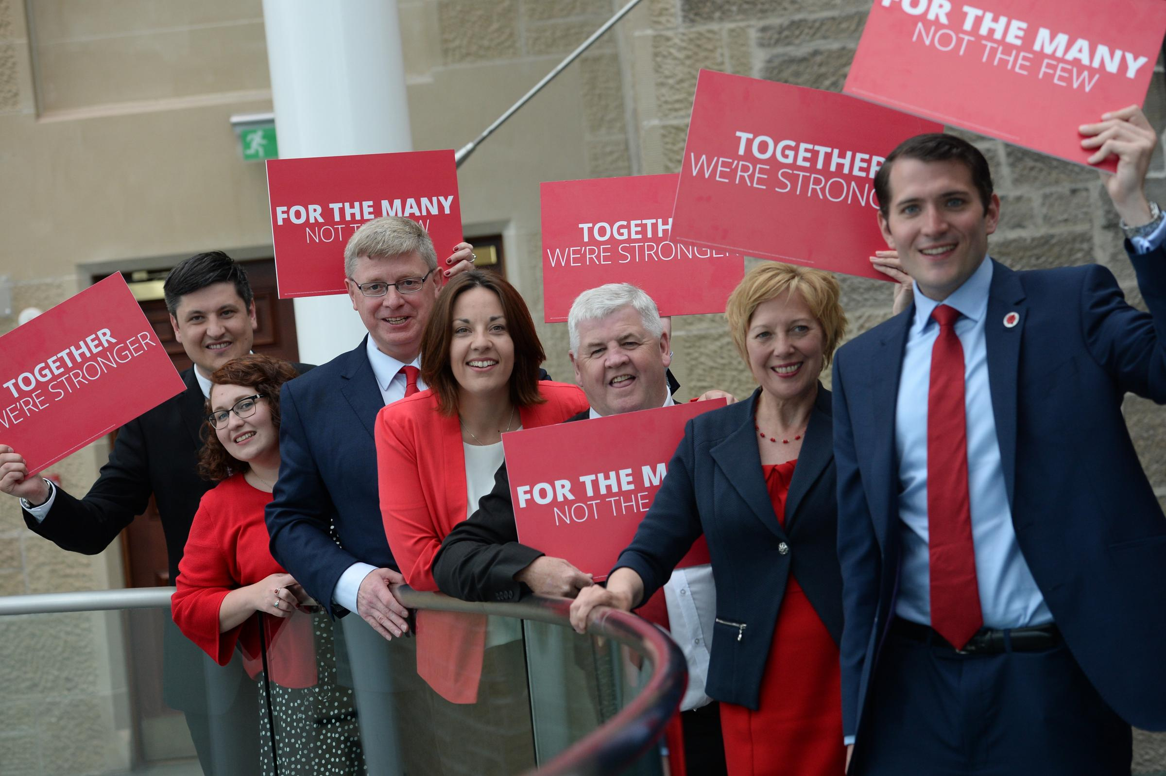 Paul Sweeney, right, with the rest of the new Labour MPs and Kezia Dugdale