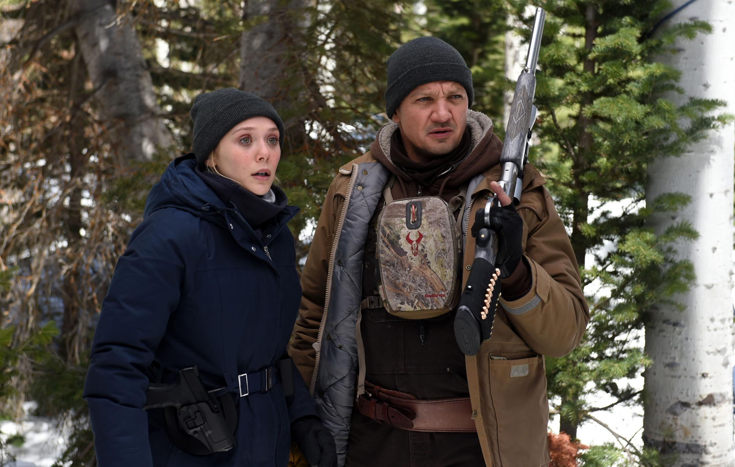 Elizabeth Olsen as Jane Brenner and Jeremy Renner as Cory Lambert
