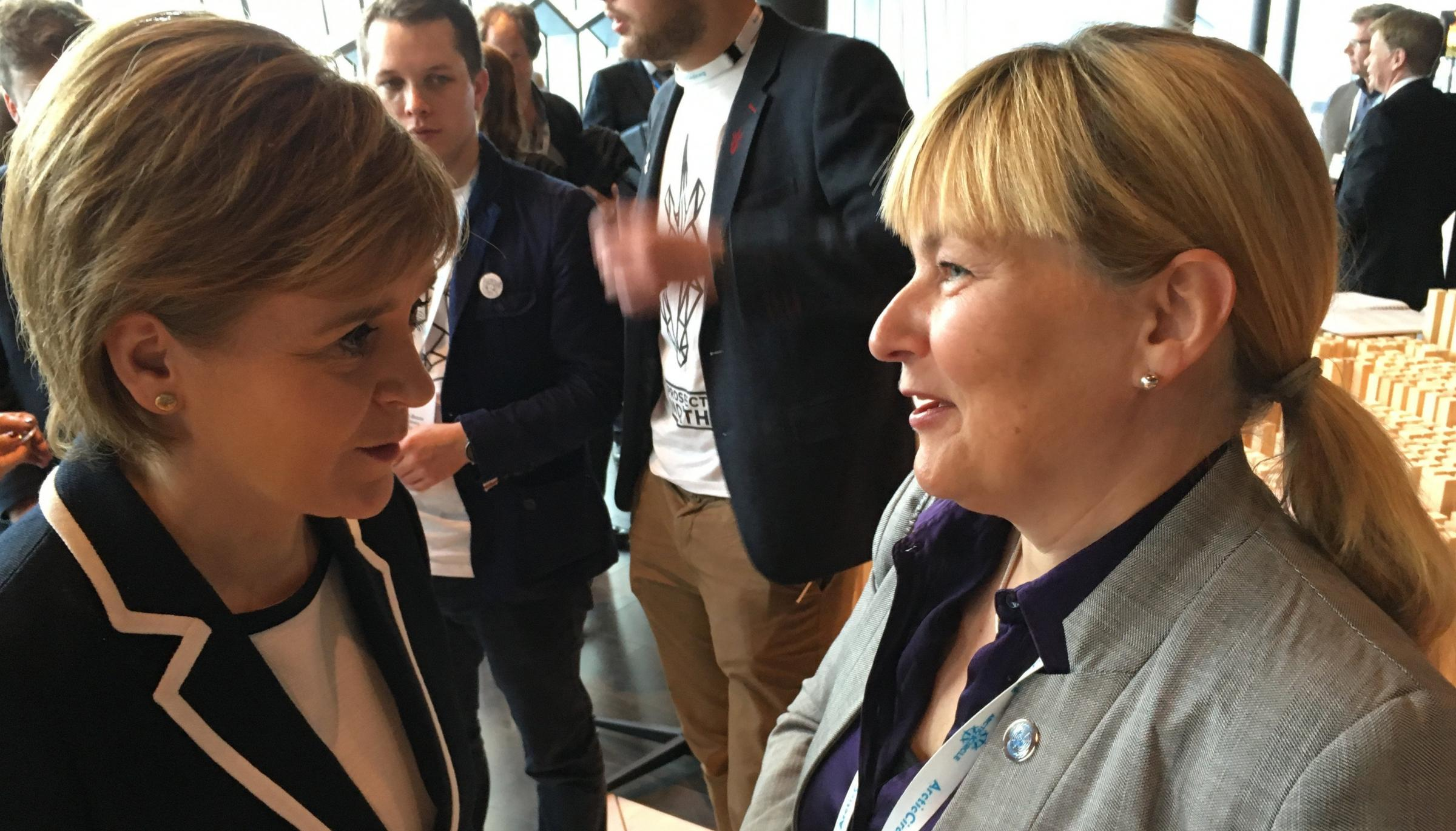 Nicola Sturgeon with Faroese MP Bjort Samuelsen at last year's Arctic Circle conference in Iceland